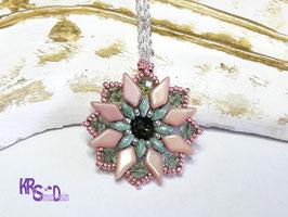 Kleiner KiteBeads Anhänger in rosa/grün,925er Silberkette