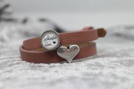 "Armband ""Schwesterherz"" rose & Herz"