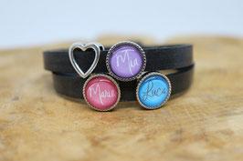 Familienlederarmband schwarz mit drei Wunschnamen (pink, lila & türkis)