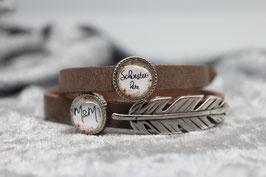"Armband braun ""Schwesterherz"" & Initialien &Feder"