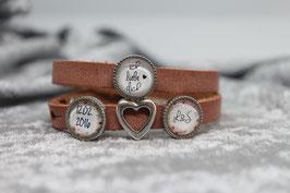 """Armband """"Liebe"""" mit Initialien & Datum & Herz offen"""