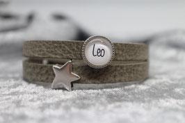 Armband hellgrau mit Wunschname & Stern
