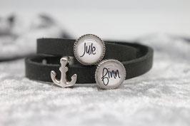 Armband anthrazit mit zwei Wunschnamen & Anker