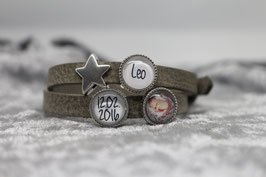 Armband hellgrau Wunschname&Datum&Foto & Stern