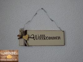 Willkommens - Schild mit seitlicher Deko