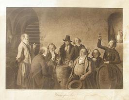 """Lithografie """"Weinprobe"""" im Holzrahmen"""