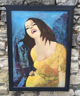"Acryl auf Holz, ""Lachende Frau"" von Michel Richard"