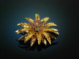 Feinste Blüten Brosche Rubine Gold 750