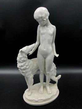 Porzellanfigur mit Hund