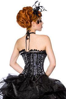 Burlesque-Corsage Schwarz/Grau 00156