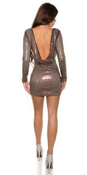 Pailletten-Mini-Kleid Caramel