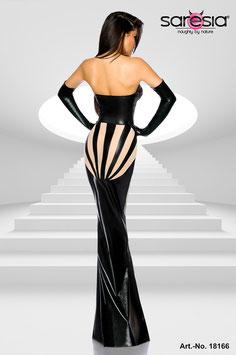 Langes Wetlook-Kleid mit Tülleinsätzen 00114