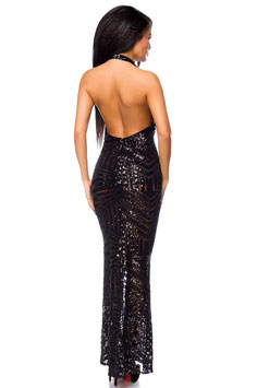 Neckholder-Abendkleid mit Pailletten 00300