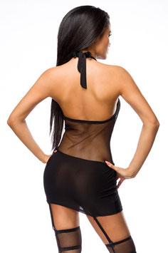 Neckholder-Netz-Kleid schwarz 00305