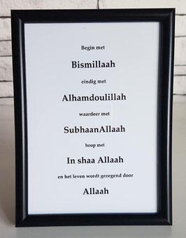 Begin met Bismillaah (zwart)