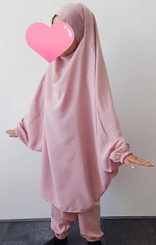 2 Delige kinder jilbab oud roze