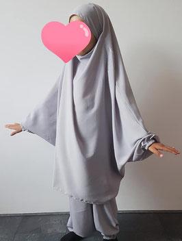 2 Delige kinder jilbab licht grijs