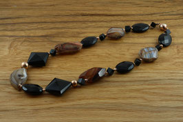 Collier - Onyx, schwarzer Achat, Sardonyx