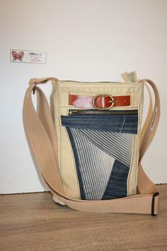 Sacoche Homme, sac besace, sac bandoulière, toile coton et jeans