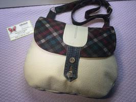 Sac à main, sac besace, ance réglable , cuir et coton