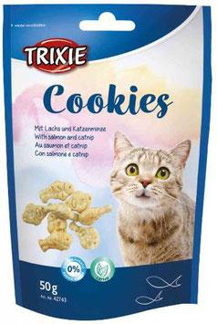 TRIXIE Cookies, mit Lachs und Katzenminze, 50 g (100g / 1,98€)