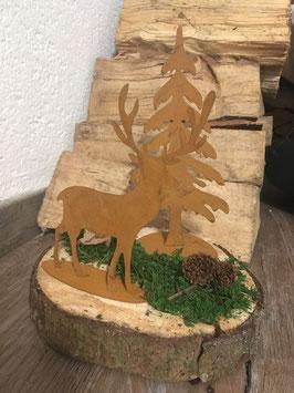 Edelrost Hirsch & Baum auf Holzscheibe