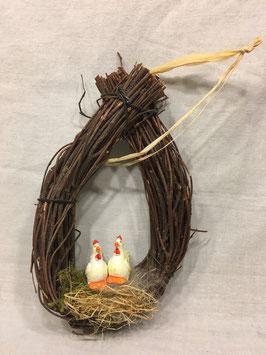 Rebenkranz oval mit Hühner