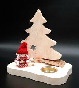 Weihnachtlicher Teelichthalter aus Zirbenholz
