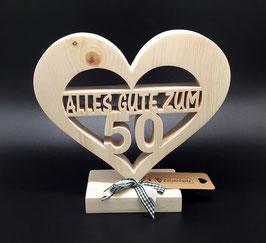 Zirben Holz Herz mit Wunschtext als ausgefallene Geschenkidee zum Geburtstag!
