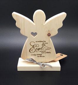 Engel aus Zirben Holz mit Spruch
