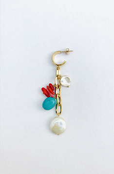 Boucles d'oreilles coquillage- turquoise