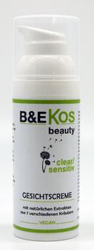 B&E KOS Gesichtscreme clear/sensitiv  für empfindliche + zu Unreinheiten neigende Haut, 50ml *vegan*