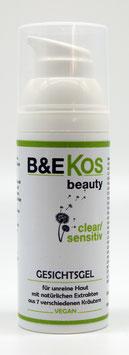 B&E KOS Gesichtsgel clear/senstiv - fettfrei- speziell für unreine, empfindliche Haut, 50ml *vegan*