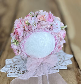 Flowerbonnet für Newborn, zartrosa