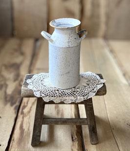 Metall Milchkanne in altweiß