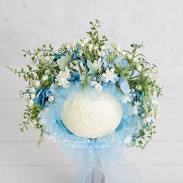 Nr.: 13 Flowerbonnet zartblau-weiß für Sitter