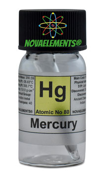 Mercury metal 2-3 grams sealed ampoule 99.99% pure