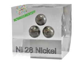 Nickel metal big spheres >40 grams 99.99% acrylic cube