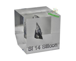 Silicon metal big crystal 99.999% acrylic cube