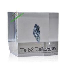 Tellurium metal big crystal 99.9999% acrylic cube