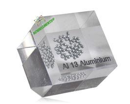 Aluminum metal shiny spheres acrylic cube