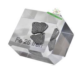 Iron metal shiny chips 99.99% acrylic cube