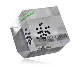 Lead metal pellets 99.99% acrylic cube
