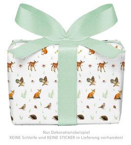 3 Bögen Geschenkpapier groß - WALDTIERE