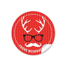 """Frohe Weihnachten""  - Hipster Hirsch - rot"