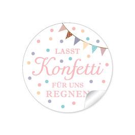 """Lasst Konfetti für uns regnen"" - Girlande - rosa"
