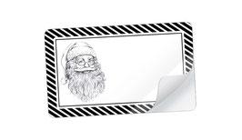 21 Sticker rechteckig klein -Weihnachtsmann schwarz weiß - mit Freitextfeld
