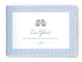 """DIN A5 BÜCHLEIN """"Zur Geburt - DIE SCHÖNSTEN ERINNERUNGEN"""" mit Schuhe blau (geheftet)"""