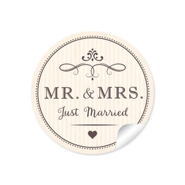 """MR. and MRS.  - Just married"" - Vintage Retro - creme"