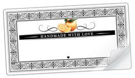 """10 Sticker rechteckig groß -""""Handmade with Love""""- Orange Ornamente - mit Freitextfeld"""